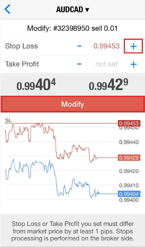 Modify trade