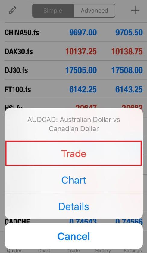 Select 'trade'