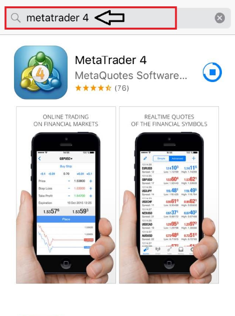 The MT4 app for iOS