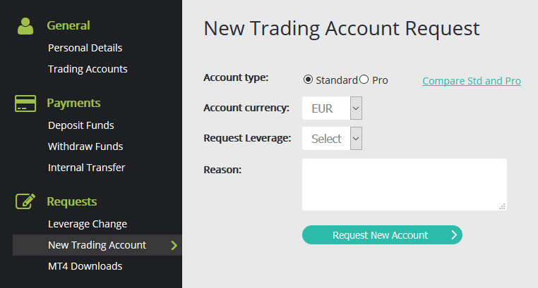 Select your account base currency