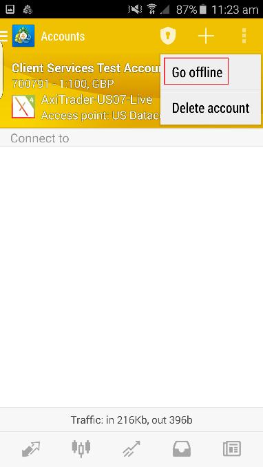 Select Go Offline