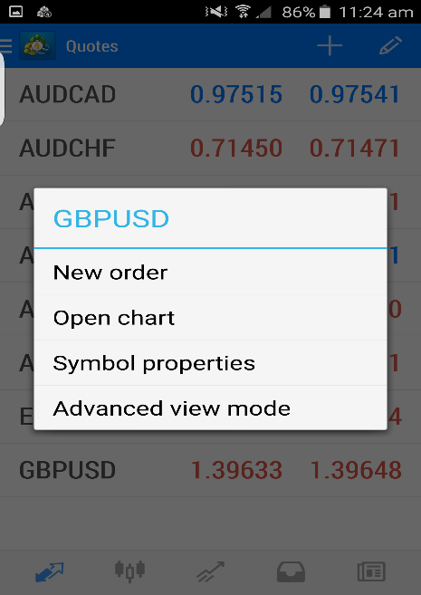 Currency pair menu options