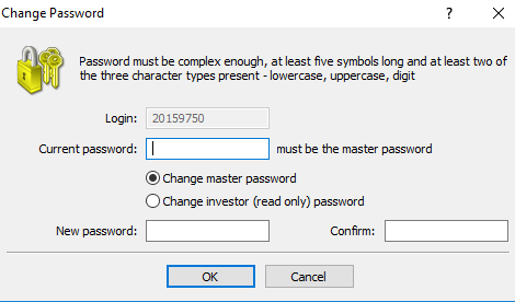 Changing MT4 password