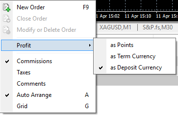 Profit display settings