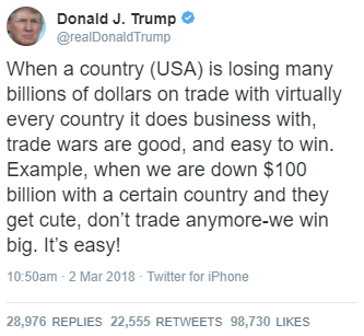 president Trump seems wiling to continue to wage trade wars across the globe.