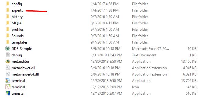 Experts folder in MetaTrader 4