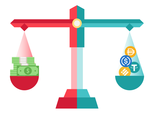 Scale displaying stablecoins and dollars