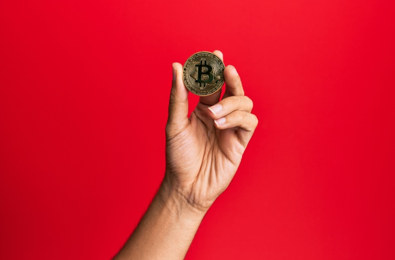 Hand holding one bitcoin against red backdrop