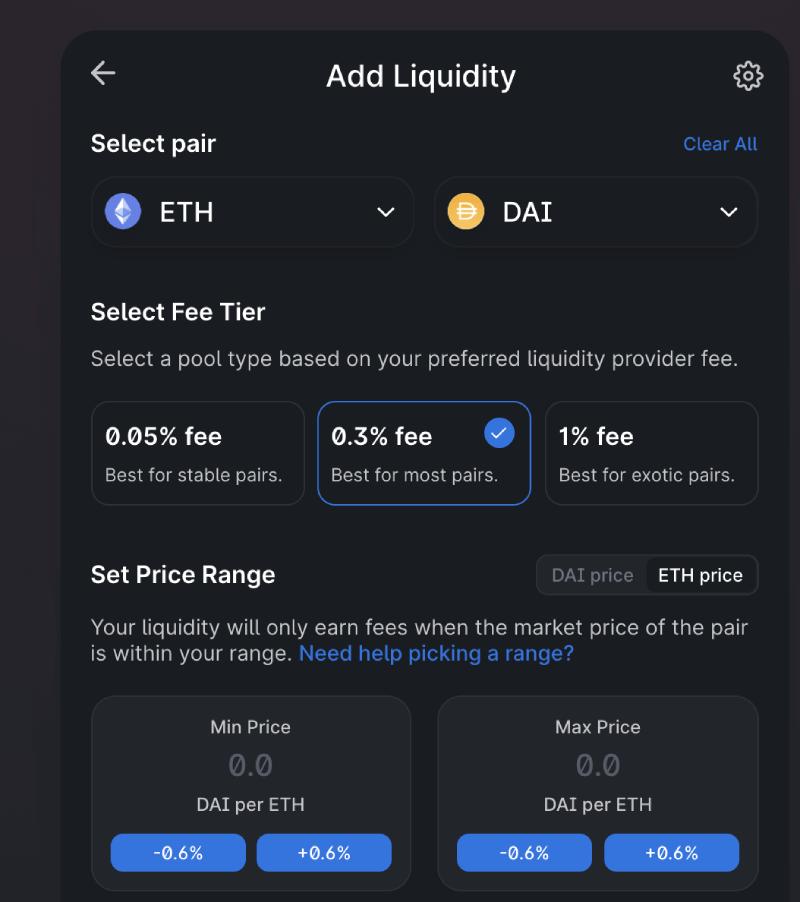Uniswap add liquidity pool menu