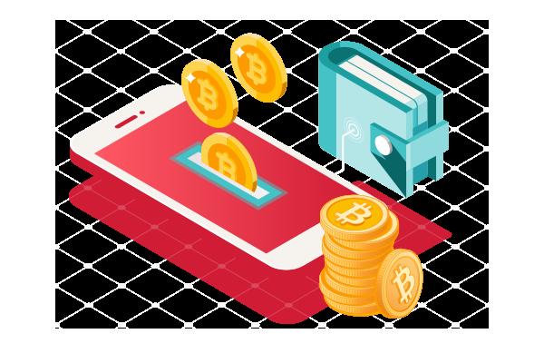 Cartoon cryptocurrency wallet