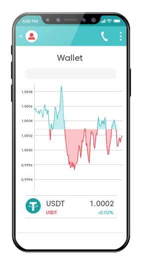 Tether price in mobile wallet